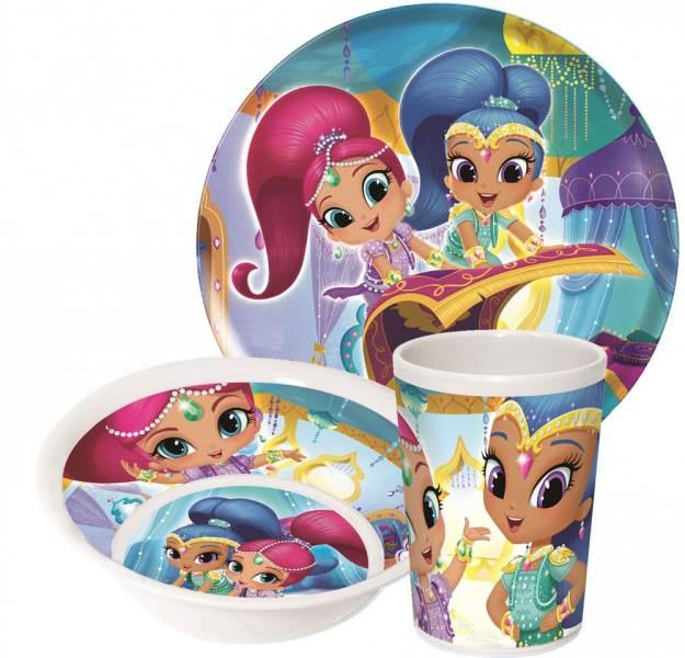 Javoli Detská jedálenská súprava Disney Shimmer and Shine, 3-dielna, melanín
