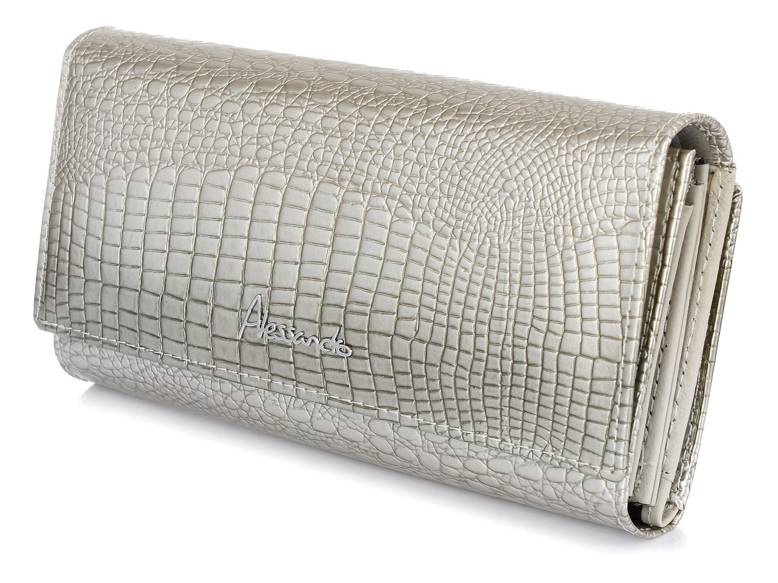Alessandro Paoli G07 Dámska kožená peňaženka strieborná