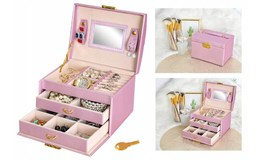 ISO 6400 Šperkovnice se zrcadlem na klíč růžová