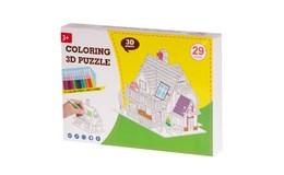 KIK Papierové 3D puzzle s farbičkami Dom 29 dielov