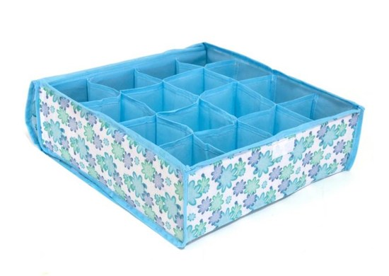 ISO Organizer do zásuvky na bielizeň modrý - 16 priehradiek