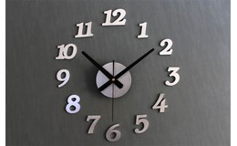 KIK Designové 3D nalepovací hodiny 130 cm stříbrné